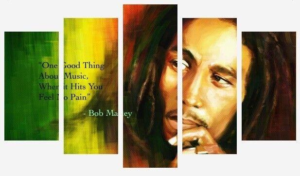 Bob Marley vita preventivo-iconico MUSICA REGGAE 5 PANNELLO diviso stampe su tela foto