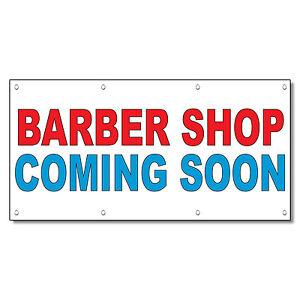 Barber Shop Coming Soon Red Blue 13 Oz Vinyl Banner Sign
