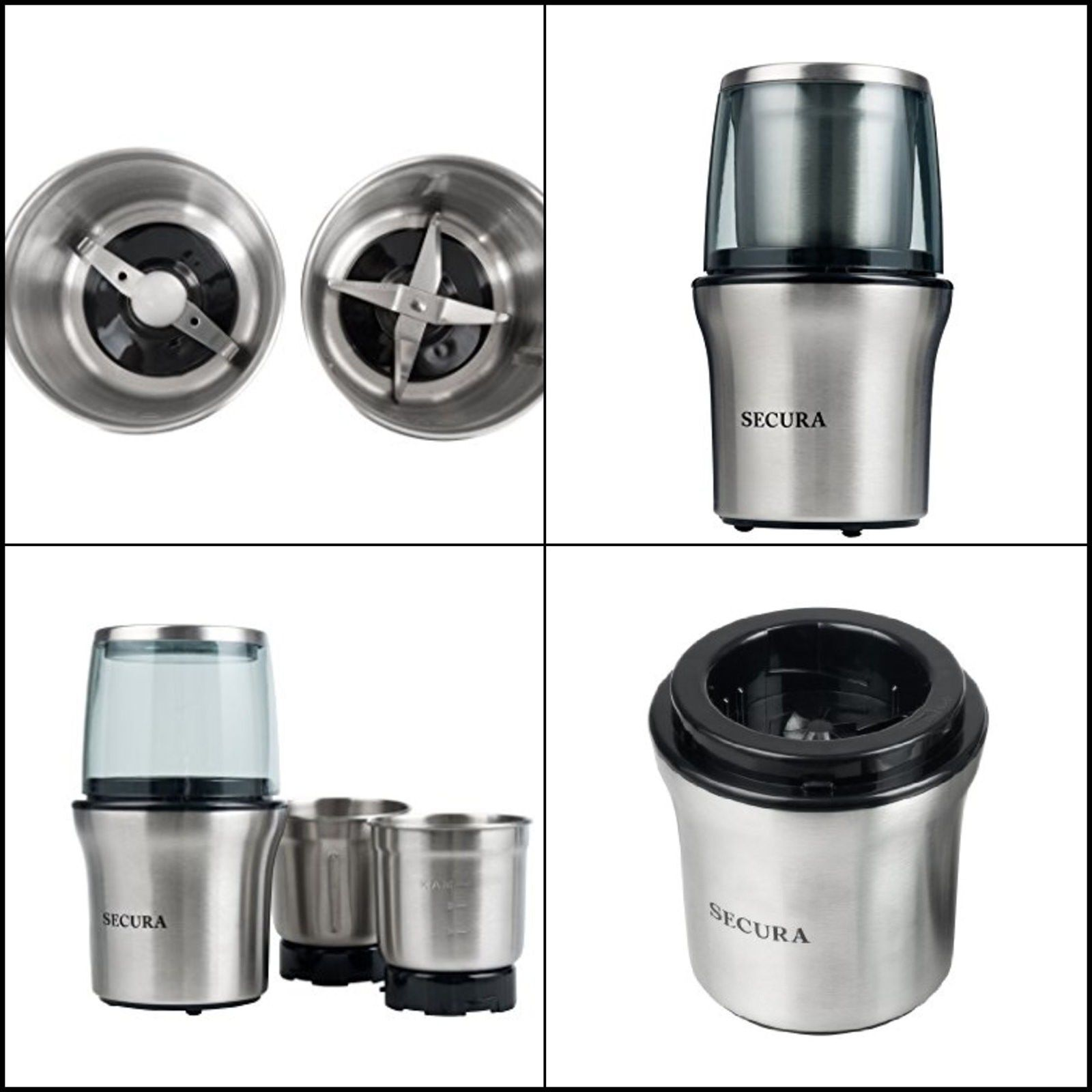 Electric Coffee Grinder Secura And Spice Grinder W 2 Stainless-Steel Blades NEW