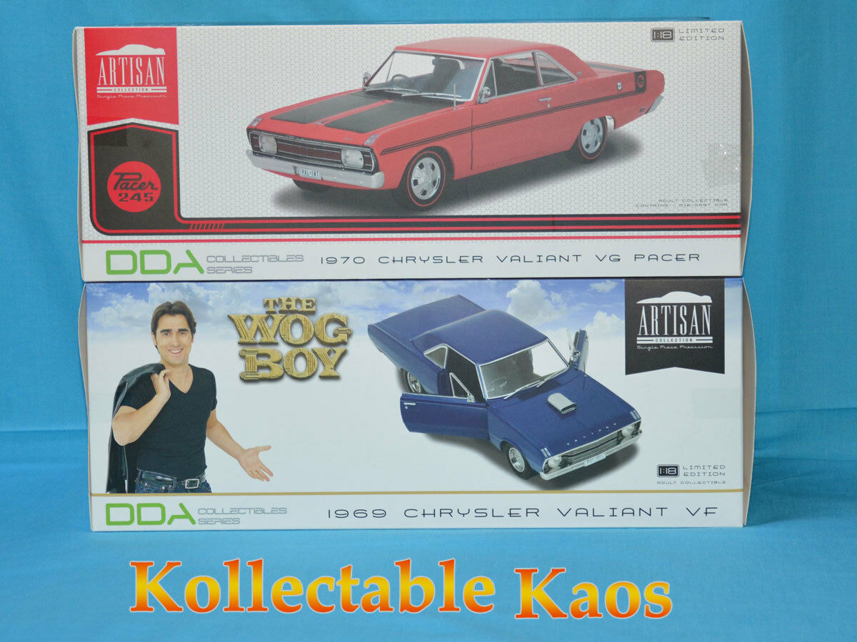 DDA Car Combo - 1 18 1969 VF Valiant Hardtop The Wog Boy & 1970 VG Valient - Red