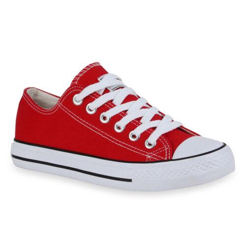 Unisex Damen Herren Sneaker Low Basic Canvas Turnschuhe Schnürer 99420 Top
