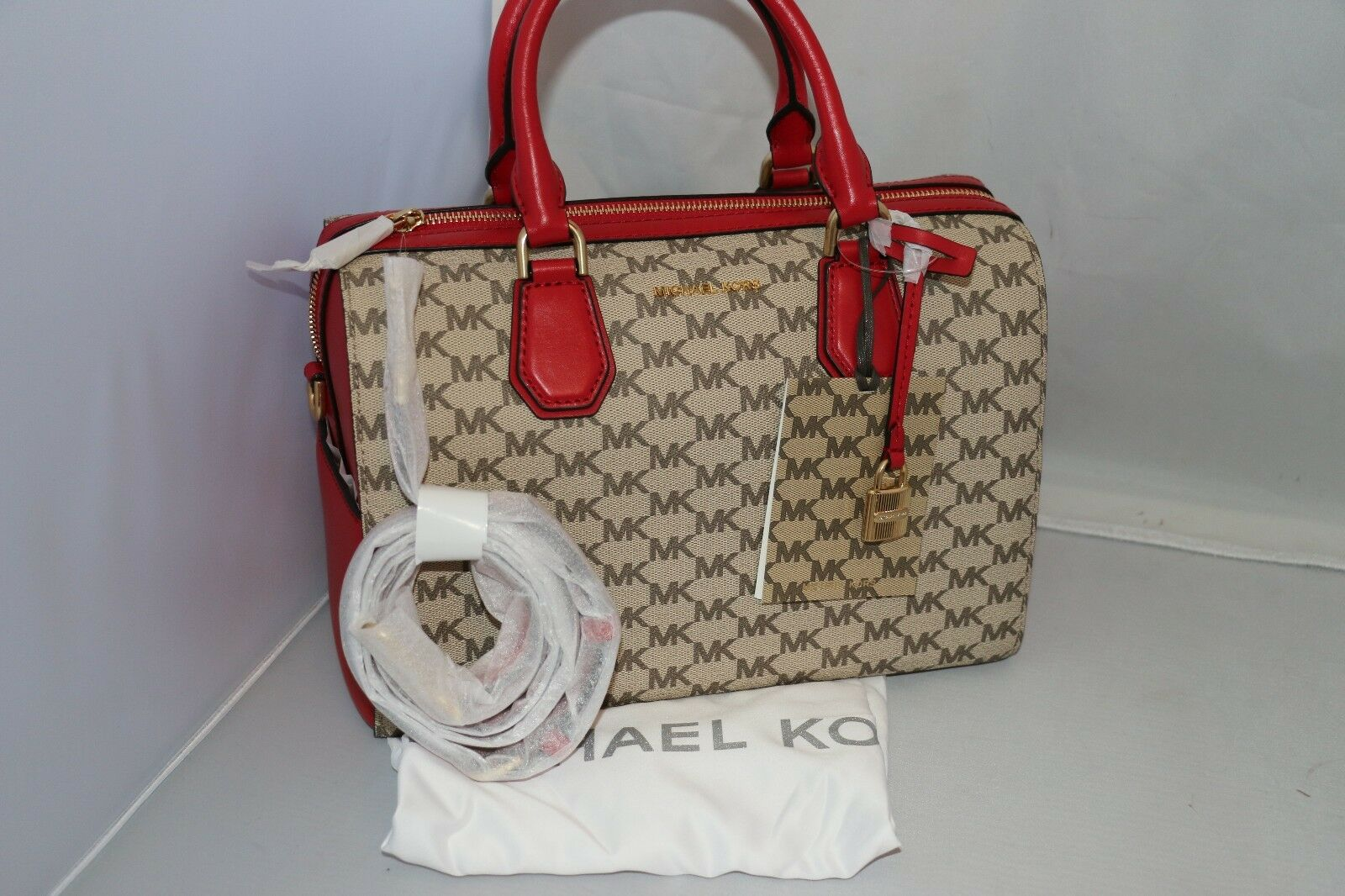 aa2d88c05977 Michael Kors Studio Natural Bright Red Mercer MD Duffle Satchel ...
