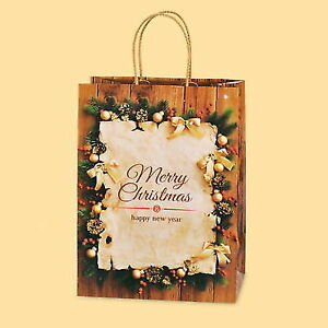 Pack Of 10 Luxury Christmas Decorations Brown Kraft Paper Gift Bag