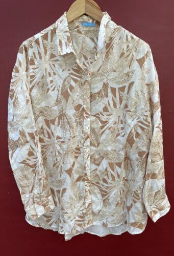 Tommy Bahama Linen Shirt XL Linen Beige Floral Pri