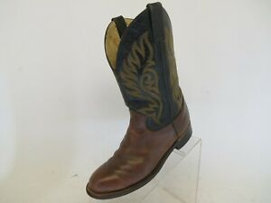 JUSTIN-Black-Brown-Leather-Roper-Cowboy-Western-Boots-Youth-Size-4-5-D