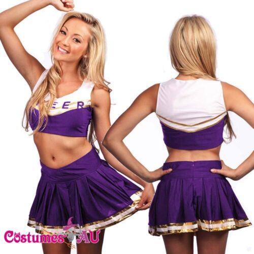 Girls Purple Cheerleader Costume School Girl Full Outfits Fancy Dress S 2XL