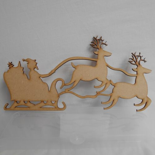 x10 10cm wide Santa on Sleigh with Reindeer,Wood Craft Shapes