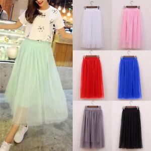 7411416dd0 Tulle Skirts Casual High Waist Long Skirt Elastic Waist Fluffy Tutu Skir ...