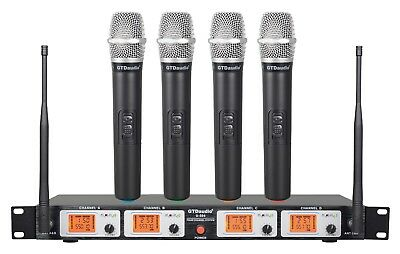 gtd audio 4 channel uhf handheld wireless microphone system mic brand new 504h ebay. Black Bedroom Furniture Sets. Home Design Ideas