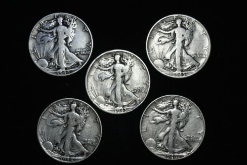 SILVER LOT OF 5 WALKING LIBERTY HALF DOLLAR COINS VF CONDITION