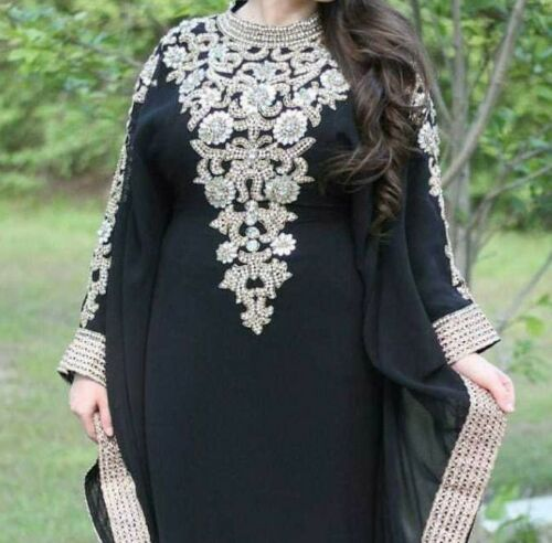 Dubai Black Moroccan Kaftan Georgette Dress Jilbab clothing Farasha Ms 0304
