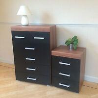 Black & Walnut 4+2 Drawer Chest & 3 Draw Bedside Cabinet Bedroom Furniture Set