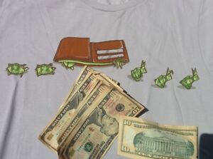 FUNNY T SHIRT Adult T Shirt Large WALLET ORIGAMI ANIMAL CASH Slow in Fast Out