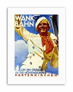 WANK-MOUNTAIN-CABLECAR-WINTER-GERMANY-SKI-SNOW-POSTERPRINT-Poster-Travel-Sport