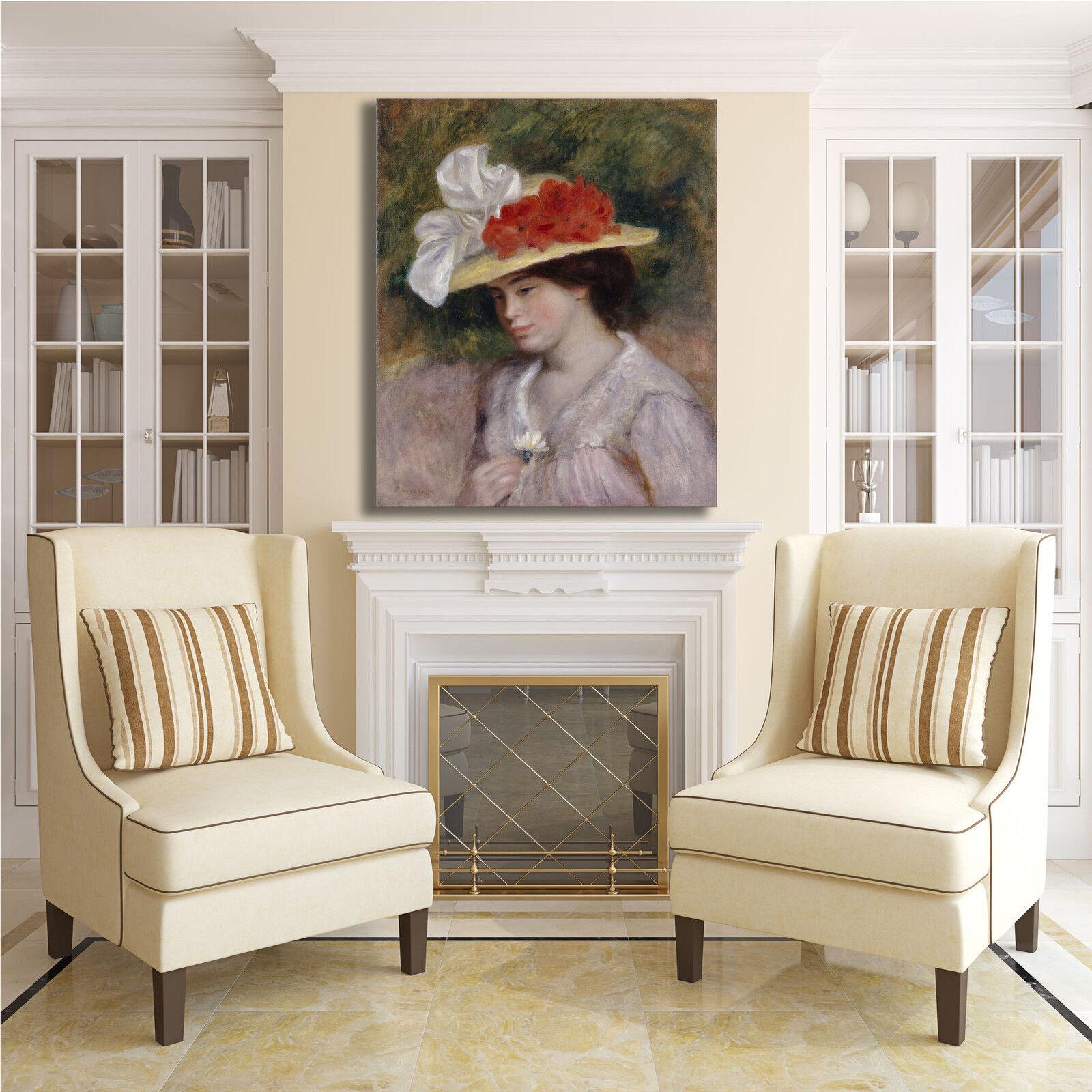 Renero donna con cappello cappello cappello fiorito quadro stampa tela dipinto telaio arrossoo casa bf454e