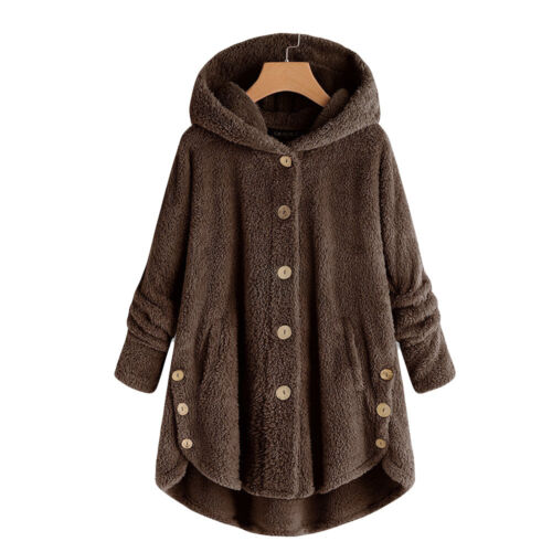 Fashion Women Fluffy Tail Top Hooded Pullover Loose Sweater Button Coat S-5XL US