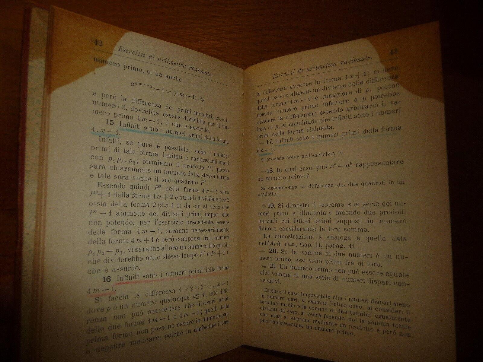 ESERCIZI DI ARITMETICA RAZIONALE F. PANIZZA HOEPLI 1898 I^ Ed.