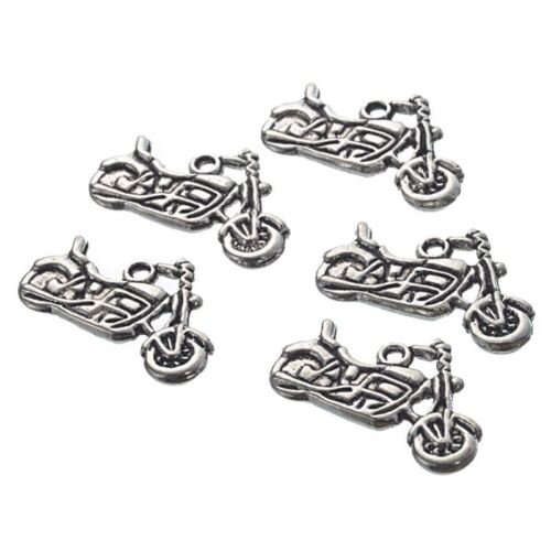 30Pcs Silver Tone Motorcycle Charms Pendants 24x14mm-Jewellery Making Finding D3