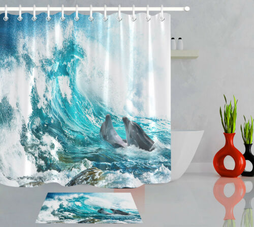 """60//72/"""" Bathroom Fabric Extra Long Shower Curtain Liner Double Dolphin Sea Wave"""