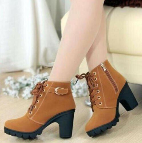 Womens Chunky High Block Heel Boots Ladies Wedge Lace Up Platform Ankle Shoes