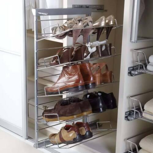 Tirez à étagère à chaussures 5 étages soft close Chrome et Argent