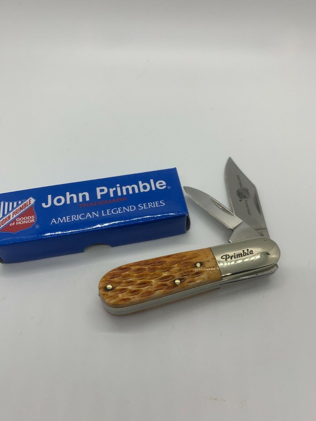 JOHN PRIMBLE 2-BLADED BARLOW KNIFE - GREEN JIGGED BONE - JP 30 0020JGB - NIB
