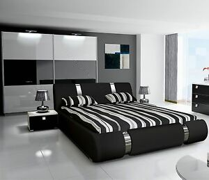 Details zu Komplett Hochglanz Schlafzimmer RIVA II mit Designer-Polsterbett  schwarz / weiß