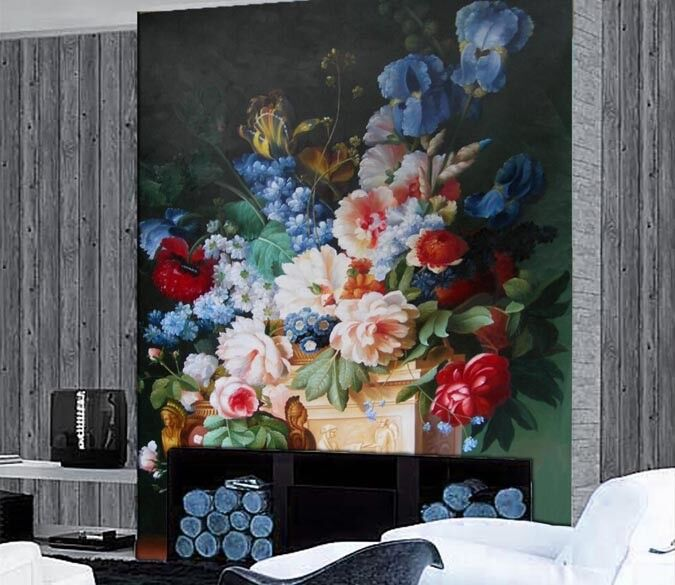 3D Blaumen Blaumentöpfe 7 Tapete Wandgemälde Tapete Tapeten Bild Familie DE Summer | Sehr gute Qualität  | Überlegen  | Ruf zuerst