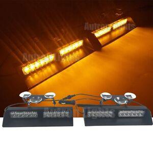 2In1 24 LED Amber Emergency Beacon Flash Dash Strobe Sucker Windshield Light Bar