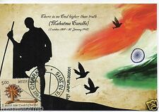 INDIA 2015 GANDHI CHARKHA MAX PICTURE POST CARD GANDHI JI LATHI FLAG & BIRDS