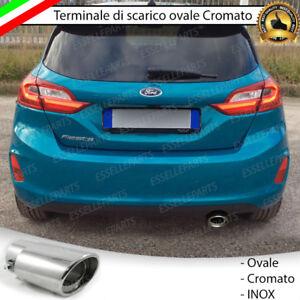 TERMINALE-SCARICO-CROMATO-LUCIDO-OVALE-ACCAIO-INOX-FORD-FIESTA-7-SCARICO-SINGOLO