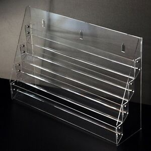 Acrylic Clear 3 Stairs Display Postcard Shelf Brochure Stand