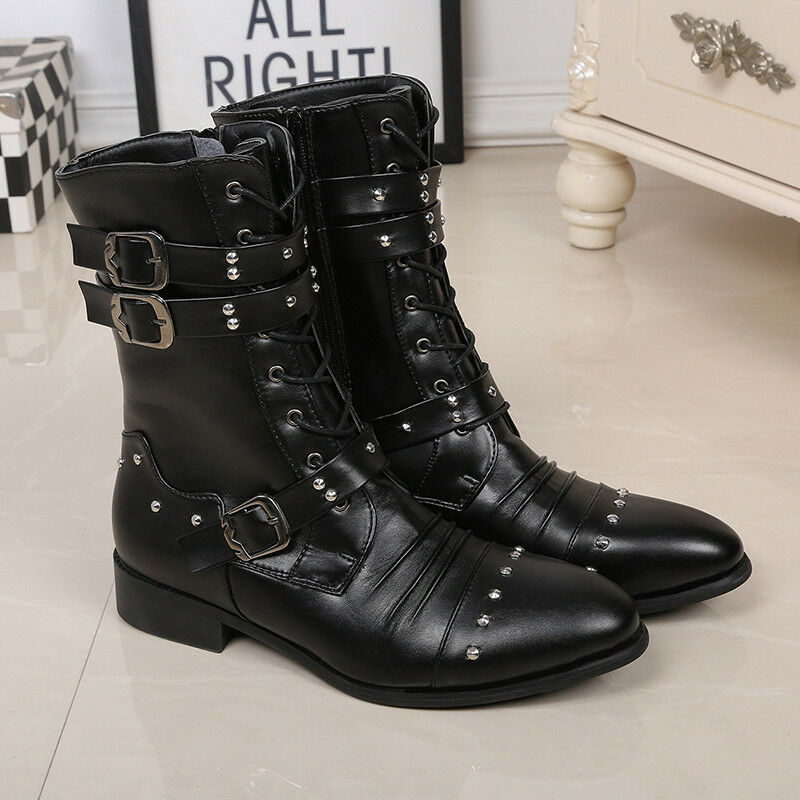 Motorcycle shoes Anti-Skid Lace-Up Men's Punk High-Top Leather Martin Boots