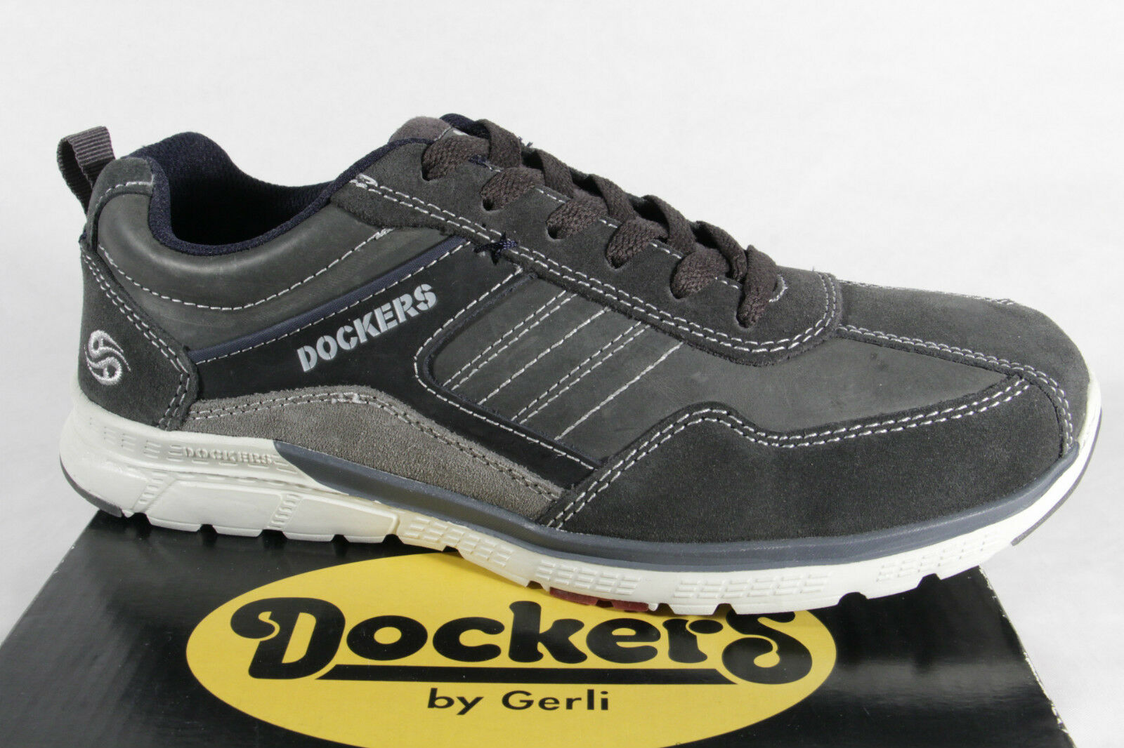 Dockers Herren Schnürschuhe Halbschuhe Sneakers grau Leder  38RE001  NEU!