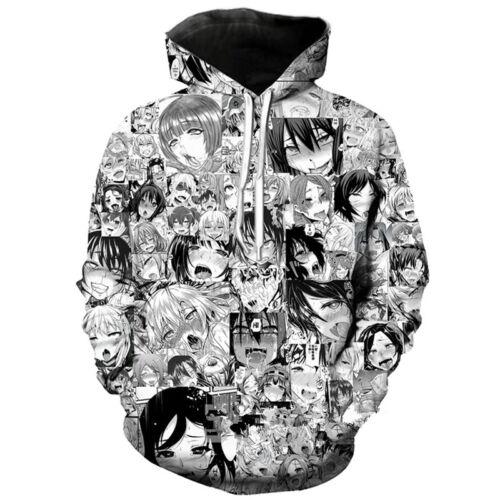 New Fashion Women//Men Anime Ahegao Funny 3D Print Casual Hoodie Sweatshirt S-5XL