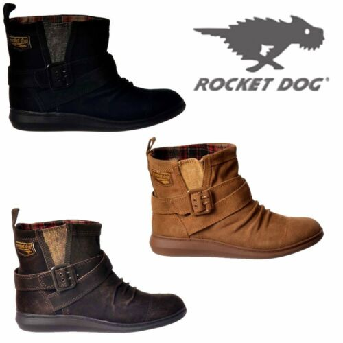 NEW WOMENS LADIES ROCKET DOG MINT SUEDE ANKLE BOOTS BLACK BROWN BUCKLES SIZE 4-8
