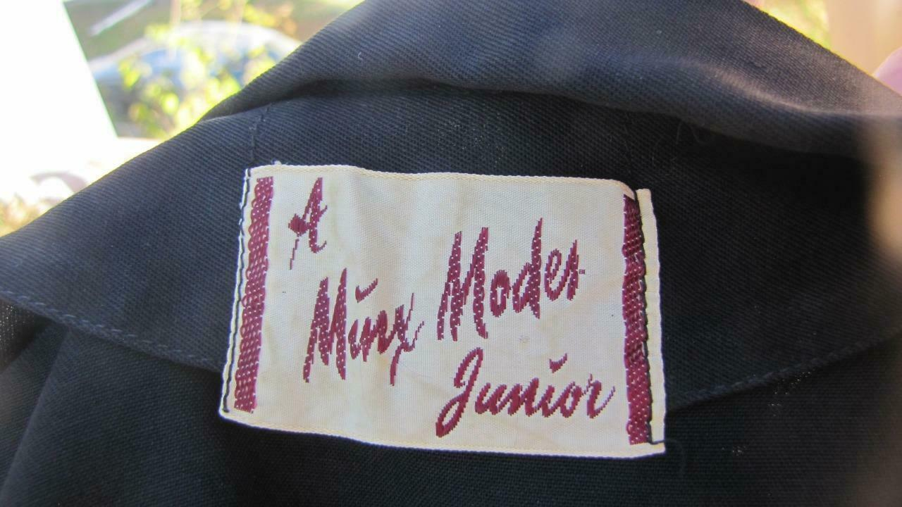 1940s MINX MODES BLACK GABARDINE DRESS W PURPLE C… - image 8