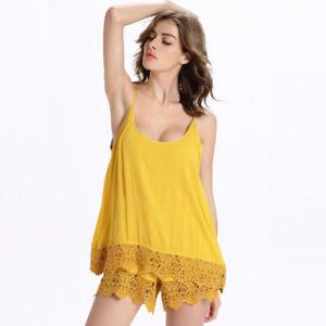 0ffc26edc98b Detalles de Elegante Refinado Traje Vestido Mono Completo Pantalones Corto  Ligero Amarillo