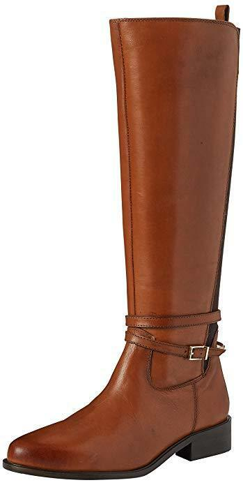 NEW LADIES Ex DUNE TARO TAN LEATHER KNEE HIGH ELASTIC PANEL RIDING BOOTS SZ 4 37