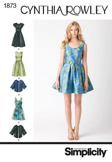 Cynthia Rowley Dress Cape Jacket Pattern Simplicity 1873 Misses Sz