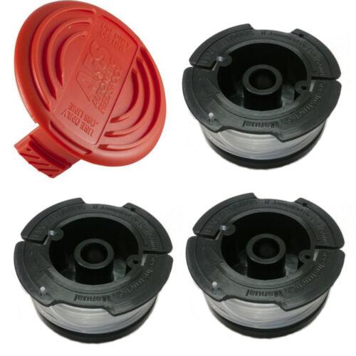 3 Line Spools for Trimmer NST2018 NST2118 Black /& Decker AF-100 385022-03 Cap