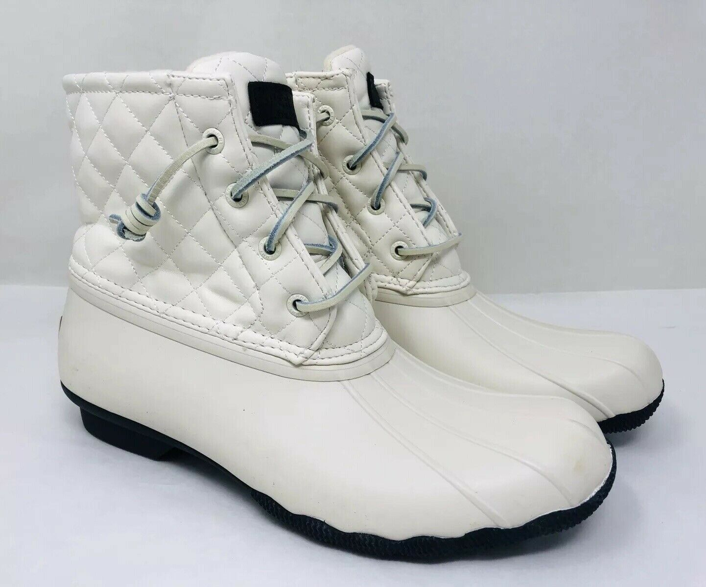 Sperry Women's Saltwater Quilted Luxe Waterproof Duck Booties Ivory, Ivory, Ivory, Pick A Size c604d5