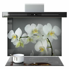ANY SIZE Kitchen Splashback Toughened Glass FHD White Orchid Flowers 66415228n