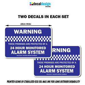 Monitored-Alarm-Security-Warning-stickers-home-or-office-2-pack-of-decals