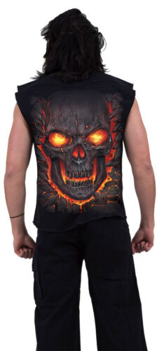 Spiral Direct SKULL LAVA SLEEVELESS WORKER//Shirt//Skull//Fire//Biker//M-L-XL-XXL-4XL