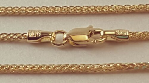 """14 k Solid Yellow Gold 1.25 mm Square Wheat  Chain Necklace 16/"""",18/"""",20/"""",22/"""",24/""""."""