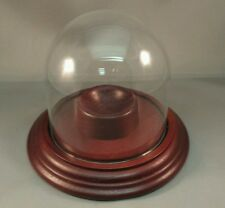 Real Mahogany Solid Wood Single Baseball Display Case, Round Glass Dome, NEW