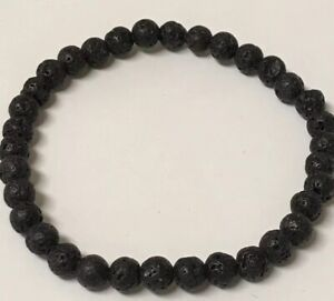 BLACK-LAVA-BEAD-AROMATHERAPY-ESSENTIAL-OIL-DIFFUSER-STRETCHY-YOGA-BRACELET-LARGE