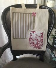 Sac shopping Totebag tissu beige rouge toile de Jouy rayures Shabby chic