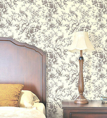 7 ROLL LOT Grey Historical Bird Floral on Creme Wallpaper Classic Modern Flowers